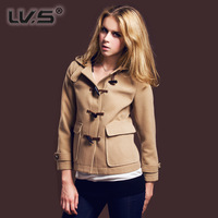 Horn button short design woolen with a hood casual overcoat female humpbacks navy blue Wine red outerwear preppy style