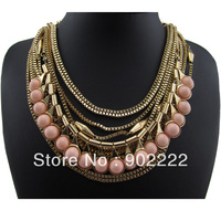 New fashion Gold chains Resin stone pendant statement necklaces women Valentine's Day gift