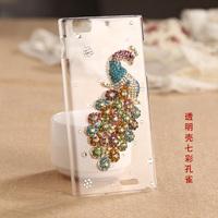 Beautiful Colorful Peacock 3D Diamond Hard Case for Lenovo K900 Bling Mobile Phone Cover