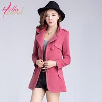 Helloworld 2013 autumn and winter slim wool double breasted wool coat medium-long outerwear female