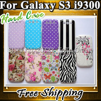 200Pcs/lot  Wholesale Hard Back Phone Cases For Samsung Galaxy S3 Cute DOTS FLOWER Zebra Covers For i9300
