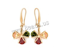 Free shipping!!!Brass Drop Earring,Jewelry For Women, Flower, 18K gold plated, with cubic zirconia, nickel, lead & cadmium free