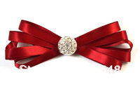 Red Men Fashion Ribbon Diamond Bow Ties Pinned Wedding Bow Ties Free Shipping 10 pcs