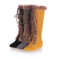big size 34-43 fashion fur ladies leather flat womansnow boots for women winter shoes Inside Increase High heeled shoes boots
