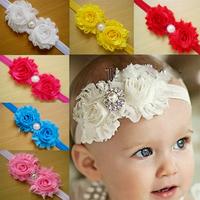 Free Shipping Fashion diamante pearl flower lace Headband colorful Flower HairBand deckle edge Headwear Baby Gift hair accessory