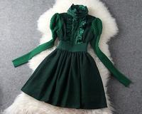 Free Shipping 2014 Autumn Winter European Famous Brand Top Grade & Puff Sleeves Tunic Embroidery Turtleneck Slim Princess Dress