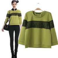 2013 fashion women lace patchwork hoodies o-neck  thickening all-match pullover sweatshirt top