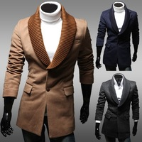 Unique male screw socket detachable double faced kuruksetra outerwear medium-long single breasted wool coat 9240