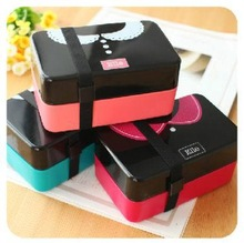 New Japanese Style 2 Tier Lunch Box w/ Belt Bento Box for Sushi Food Container 730 ml w/ 4 Patterns for Men & Women Hot BFCF-24(China (Mainland))
