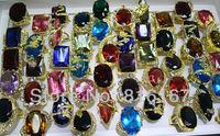 Fashion Jewelry Wholesale mixed lots 25pcs oversize colorful cz/rhinestone gold plated lady's rings w3205