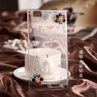 Colorful Silver White Rose Flowers and Ballet Dance girl Bling Crystal Diamond Case for Lenovo K900 Hard Cover