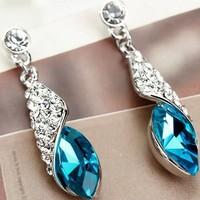 Free Shipping! Elegant Full Rhinestones Crystal Waterdrop Drop Dangle Dangle Earrings Fashion Jewelry for Women Accessories