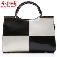 2013 new Black and white colours patent leather handbag. Europe and the United States fashion splicing single shoulder bag.