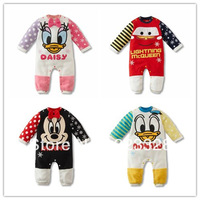 2014 new children's clothing baby romper newborn bodysuit romper cotton Baby girls boys Mickey Minnie Duck car Kids Rompers