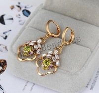 Free shipping!!!Brass Lever Back Earring,Costume jewelry, Flower, 18K gold plated, with cubic zirconia, nickel