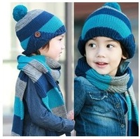Stripe child scarf hat set baby autumn and winter children hats