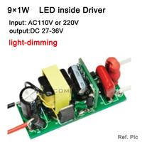 Free shipping light dimming 9*1W led power driver, lamp inside driver AC220V 110v LED power supply input for LED lamp, spotlight
