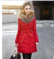 2013 NEW Winter fashion luxury raccoon fur thickening slim lacing women's wadded jacket medium-long cotton jacket,free shipping