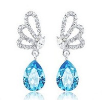 Beautiful Crystal Hollow Out Butterfly Dangle Earring Blue Water Drop Drop Earring AC007