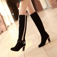 Hot sale fashion ladies sexy Knee high boots big size 35-43 High-heeled Boots Shoes/Coarse heel boots women winter free shipping
