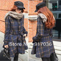 LOW PRICE high quality plaid woolen outerwear female medium-long slim skirt wool coat