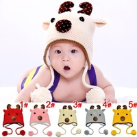 Sika Deer Design Baby earflaps hat  Lovely Boy girl Hats Winter baby hat Knitted caps 5 color in stock