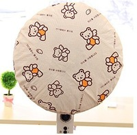 Cartoon Bear Printed Non-Woven Fabric Circular Fan Dust Cover Home Textile