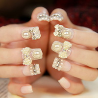 [Sophie Beauty] Cream white square toe nail art finished products elegant nail art patch nail art patch finished product