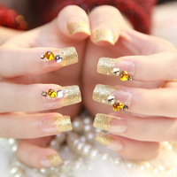 [Sophie Beauty] Square toe french gold glitter nail art patch dress girl false nail  Free Shipping