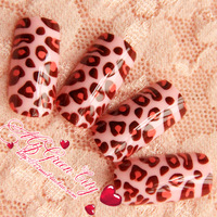 [Sophie Beauty] Perfect quality paint cream three-color leopard print paragraph false nail art patch  Free Shipping