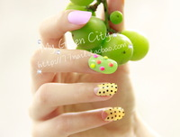 [Sophie Beauty] Round toe fruit green nail art patch  Free Shipping