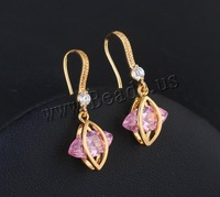 Free shipping!!!Brass Drop Earring,Vintage, 18K gold plated, with cubic zirconia, nickel, lead & cadmium free, 27x12mm
