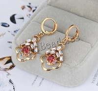 Free shipping!!!Brass Lever Back Earring,New Arrival, Flower, 18K gold plated, with cubic zirconia, nickel, lead & cadmium free