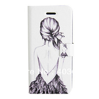 Hand-painted Girl's Back Cover PU Leather Full Body Case for iPhone 5/5S
