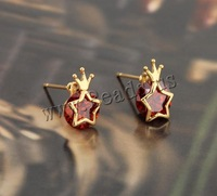 Free Shipping!!!2015 Fashion18K Gold Plated Brass Stud Earring Red Star Women Earring With Cubic Zirconia Nickel 12.5 mm