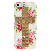 Novelty Design Bronzed Rivets Cross and Rose Pattern Hard Case with Nail Adhesive Cover for iPhone 5/5S