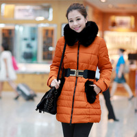 2013 winter women's fashion slim medium-long thickening wool collar down coat outerwear