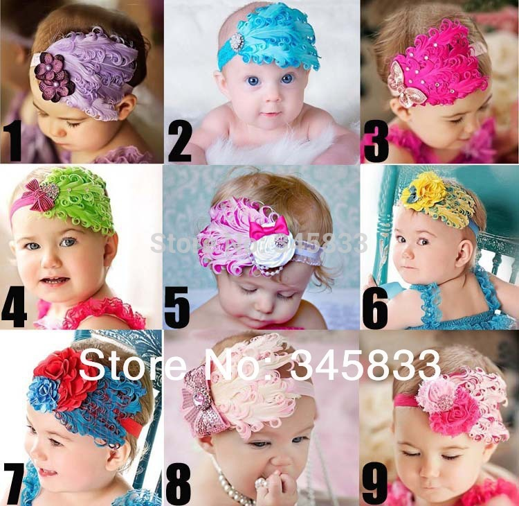 feather headband inflant baby hairband girls flowers headbands children accessories(China (Mainland))