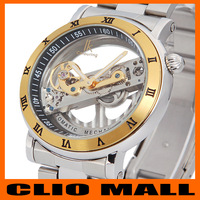 men's watch hollow transparent skeleton,Automatic self wind mechanical men watchesman full steel wristwatch reloj,relogio