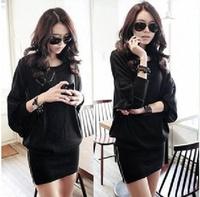 2013 Winter Dress Black plus-size women's wide edition  satchel hip bat sleeve T-shirt Package hip Short