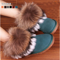 2012 5854 cowhide fox fur female snow boots female boots