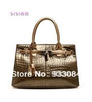 HOT selling SISI Italy designer long champagne bag gold crocodile shoulder handbag genuine leather Exclusive L34cm W13.5cm H23cm