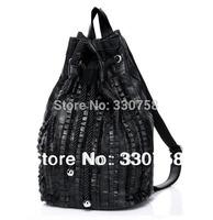 Black Sheepskin Women's Handbag Double Shoulder Genuine Leather Travel Bags Drawstring Leisure Bag New Arrivals