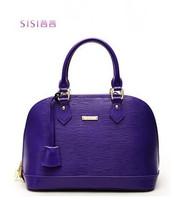Exclusive SISI Italian designers brand genuine leather 2014! new women shell handbags with gold lock!purple orange hotpink solid