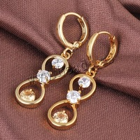 Free shipping!!!Brass Lever Back Earring,korean, 18K gold plated, with cubic zirconia, nickel, lead & cadmium free, 34x9mm