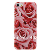 Red Rose Pattern Diamond Look PC Hard Case for iPhone 5/5S