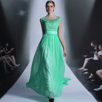 Free shipping DORISQUEEN 30935 green color scoop neckline long evening dress 2014 fashion trend