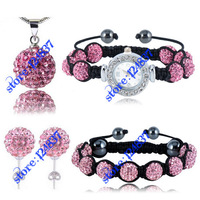 Wholesale 4pcs/set 10mm Pink Balls Watch Shamballa Set Crystal Earrings/Necklace/Pendant/Bracelet Jewelry Sets Fashion Jewellery