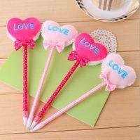 Free shipping 24PCS/lot wholesale LOVE knot plush ball pens advertising gift pen