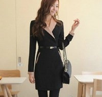 2013 autumn and winter fashion winter quality professional women fashion all-match suit collar long-sleeve slim one-piece dress